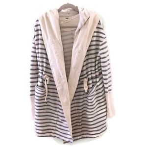 FREE PEOPLE striped Hooded Long Island Cardigan